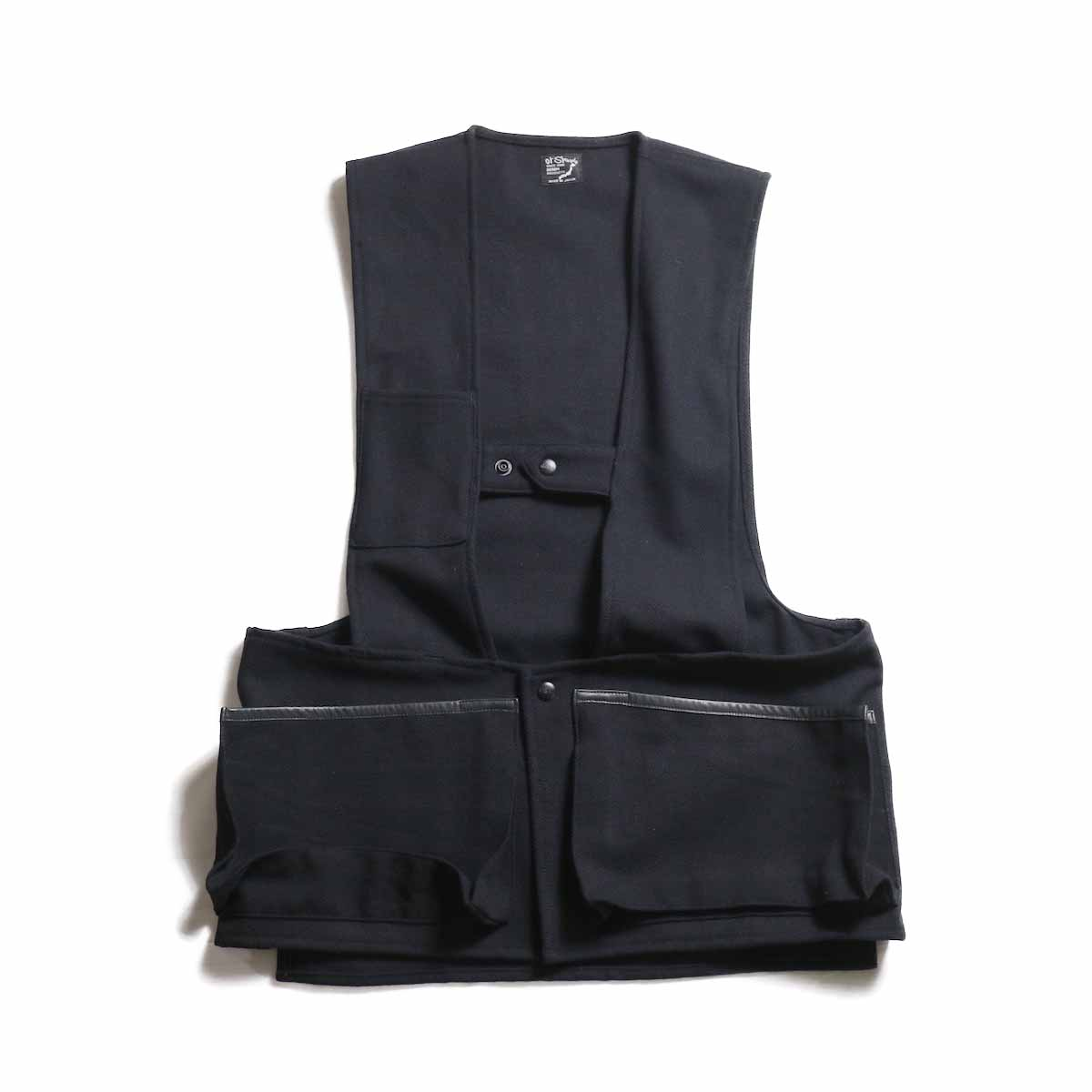 orSlow / Hunting Vest -Melton Wool Herringbone Twill(BLACK)