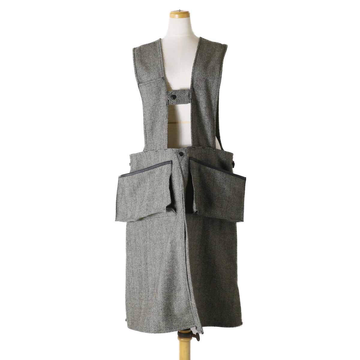 orSlow(Ladies) / Hunting Vest Long -Melton Wool Herringbone Twill(GRAY)