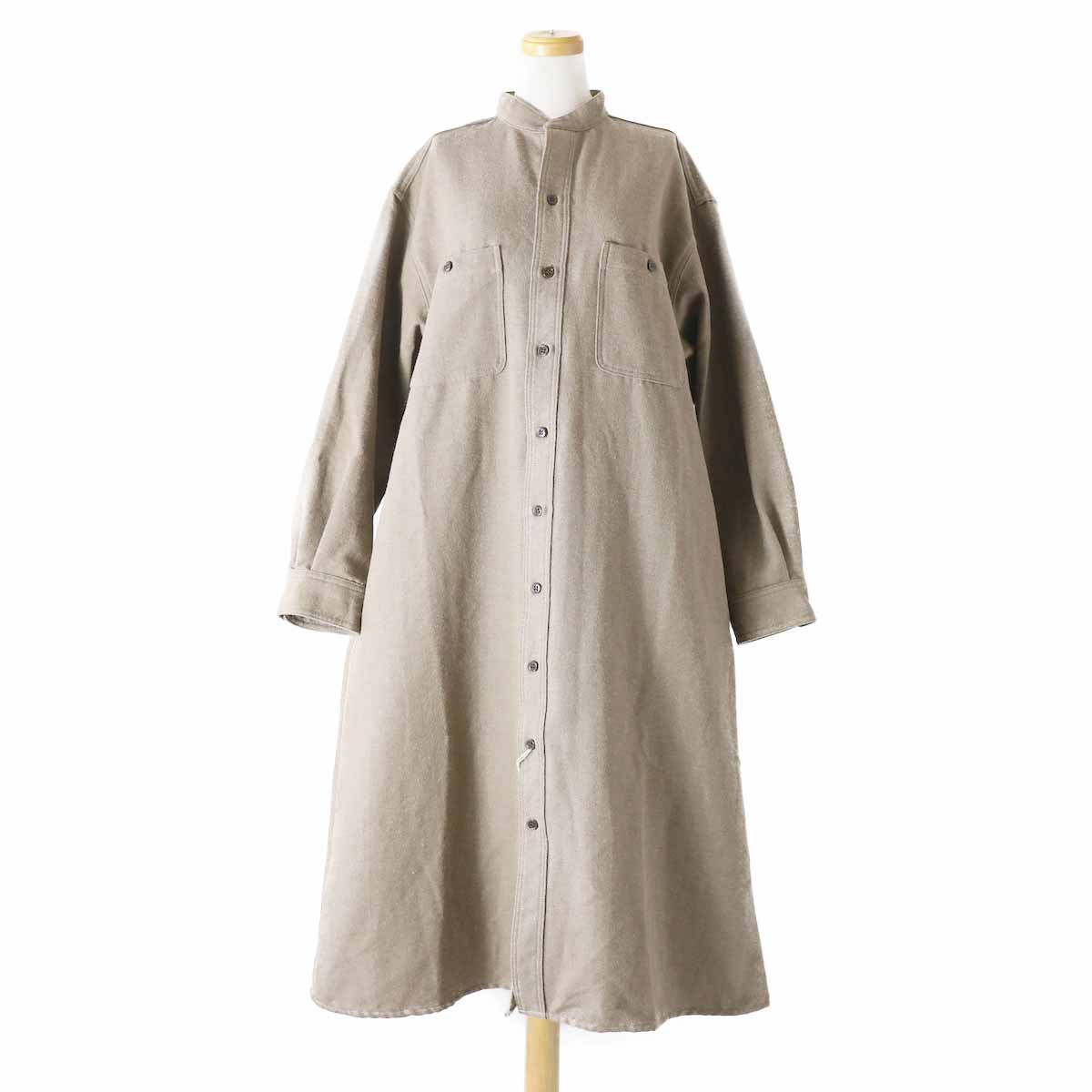 orSlow / Ladies Stand Collar Long Sleeve Shirt -KHAKI