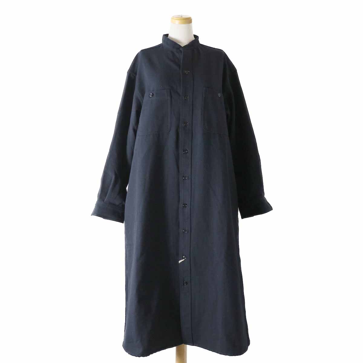orSlow / Ladies Stand Collar Long Sleeve Shirt -NAVY