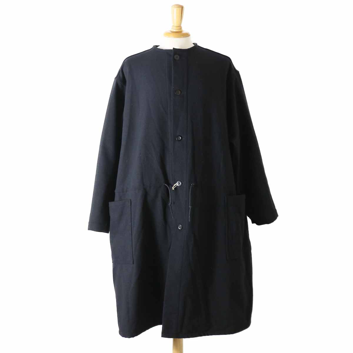 orSlow / Cotton Shell No Collar Coat -Melton Wool Herringbone Twill(BLACK)