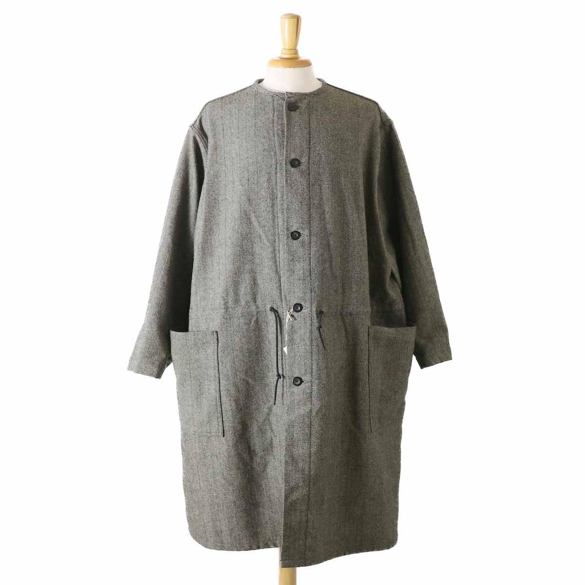 orSlow / Cotton Shell No Collar Coat -Melton Wool Herringbone Twill(GRAY)