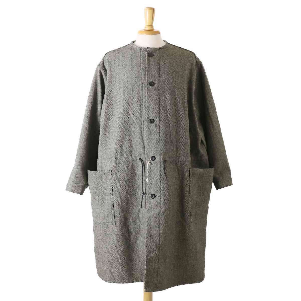 orSlow / Cotton Shell No Collar Coat -Melton Wool Herringbone Twill(GRAY)