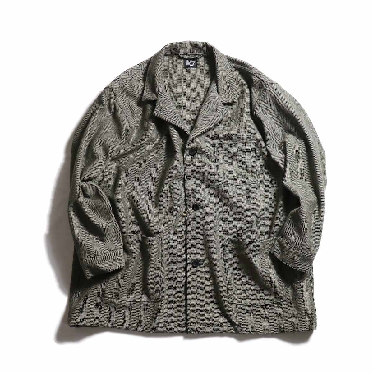 orSlow / Pajama Shirt -Melton Wool Herringbone Twill(GRAY)