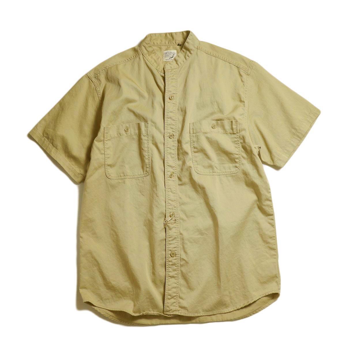 orSlow / STAND COLLAR SHORT SLEEVE SHIRT -Khaki