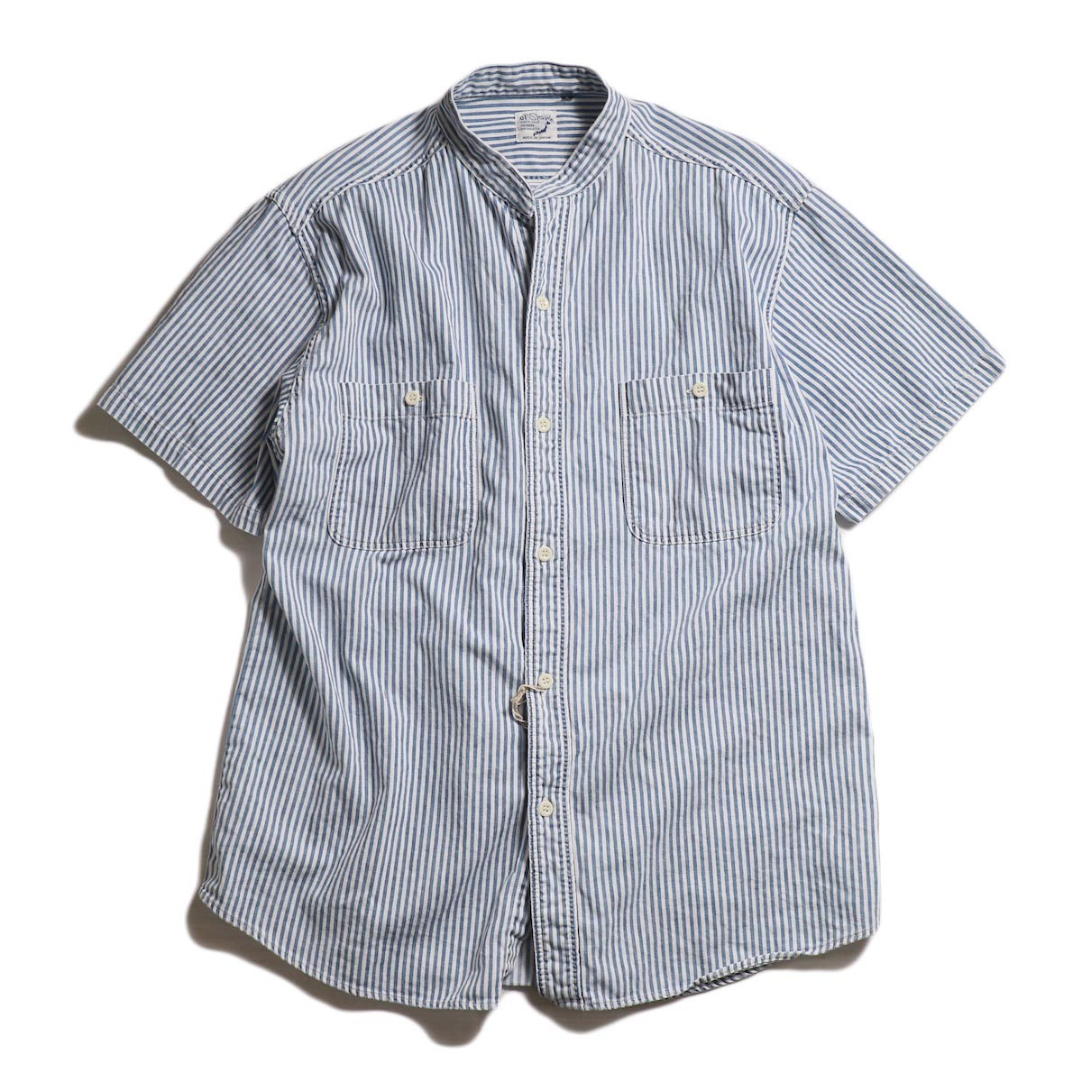 orSlow / STAND COLLAR SHORT SLEEVE SHIRT -Khaki