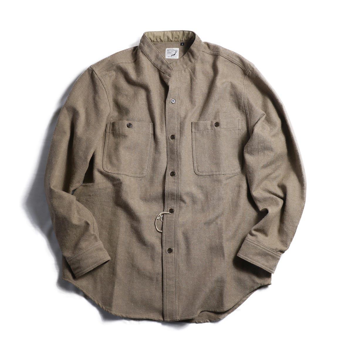 orSlow / Stand Collar Long Sleeve Shirt -Khaki