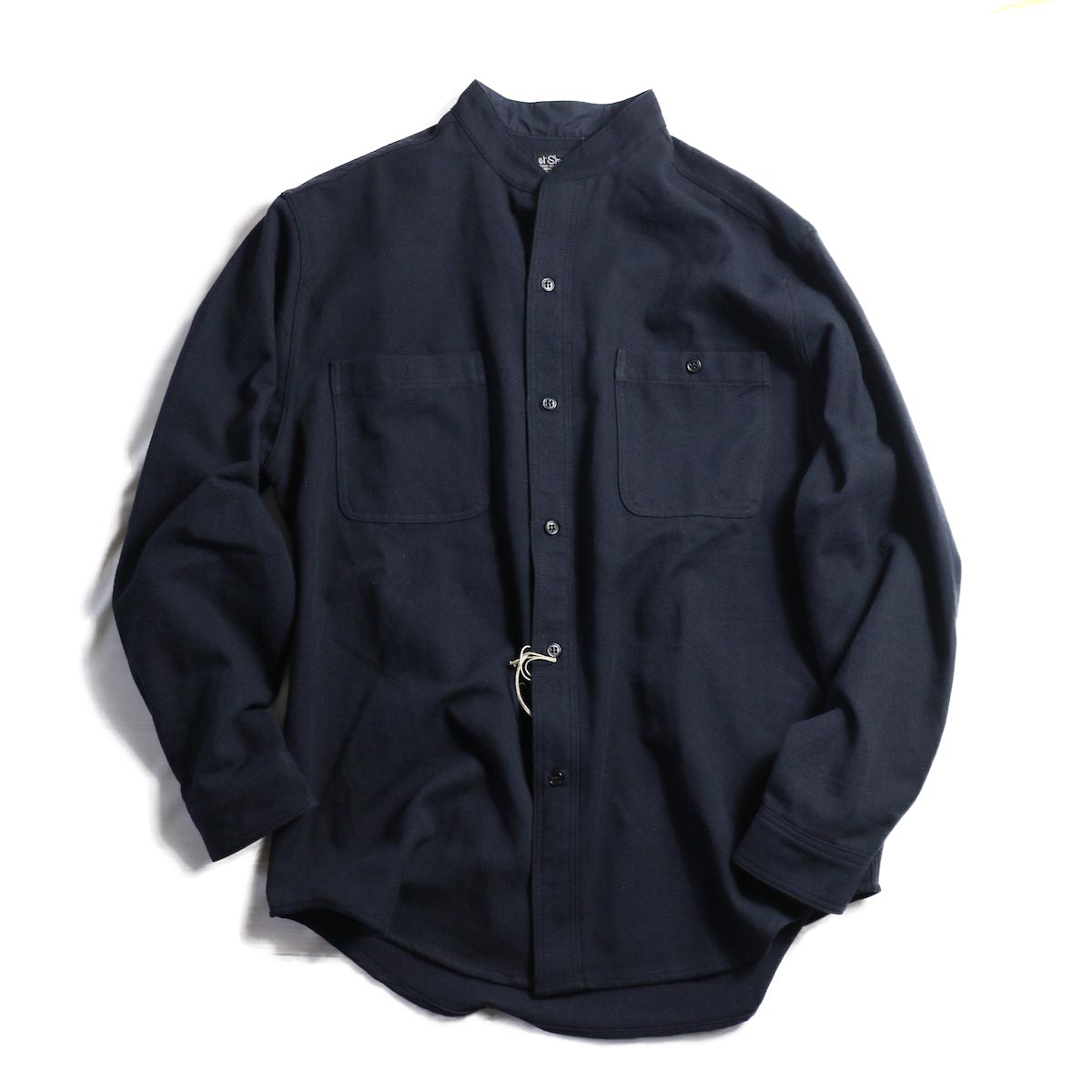 orSlow / Stand Collar Long Sleeve Shirt -Navy