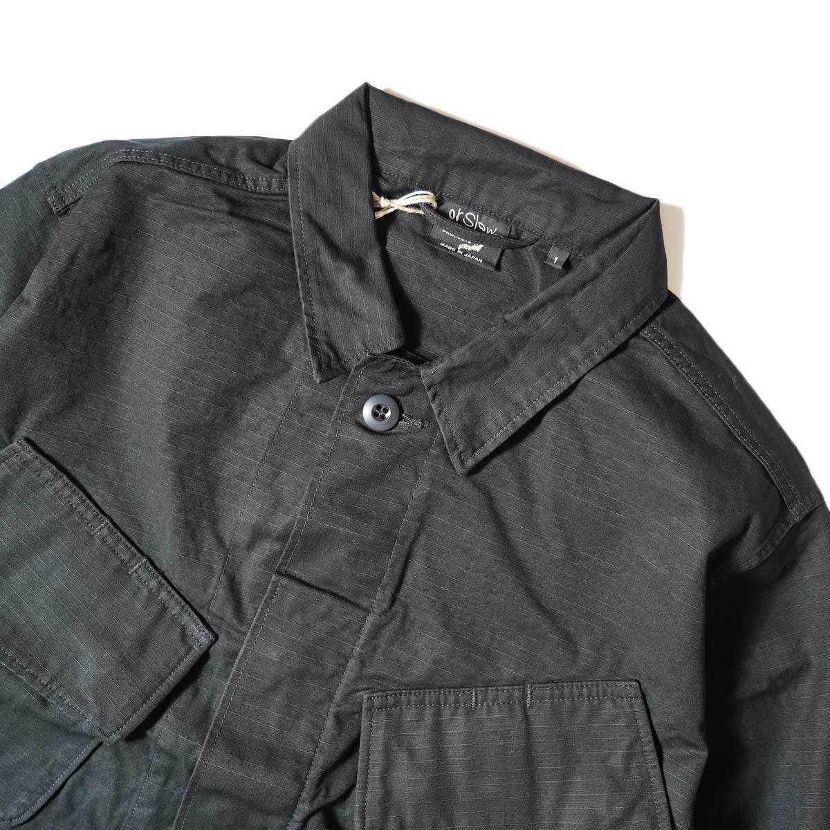 orSlow / US Army Tropical Jacket (Black Rip Stop) 襟