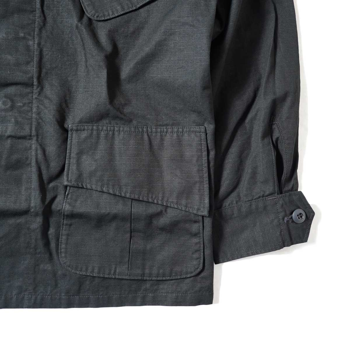 orSlow / US Army Tropical Jacket (Black Rip Stop) 裾、袖