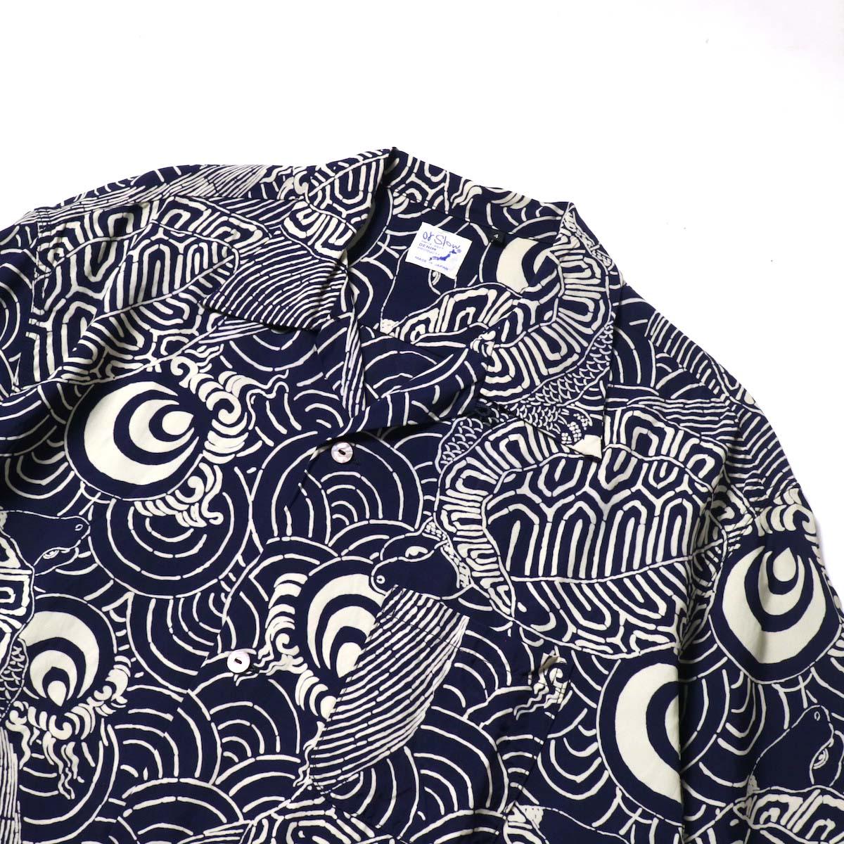 orSlow / TURTLE PRINT HAWAIIAN SHIRTS  襟