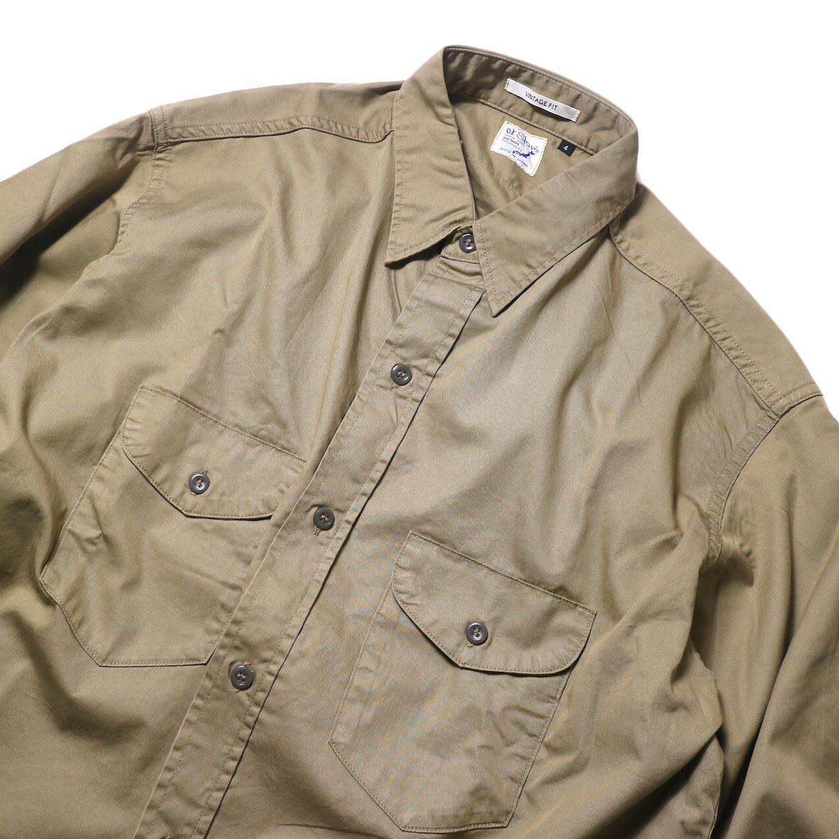 orSlow / UTILITY WORK SHIRT (Khaki)襟