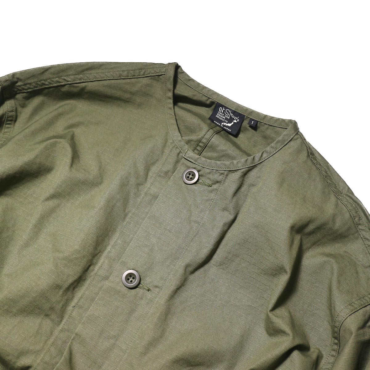 orSlow / No Collar Coat (Army)ノーカラー