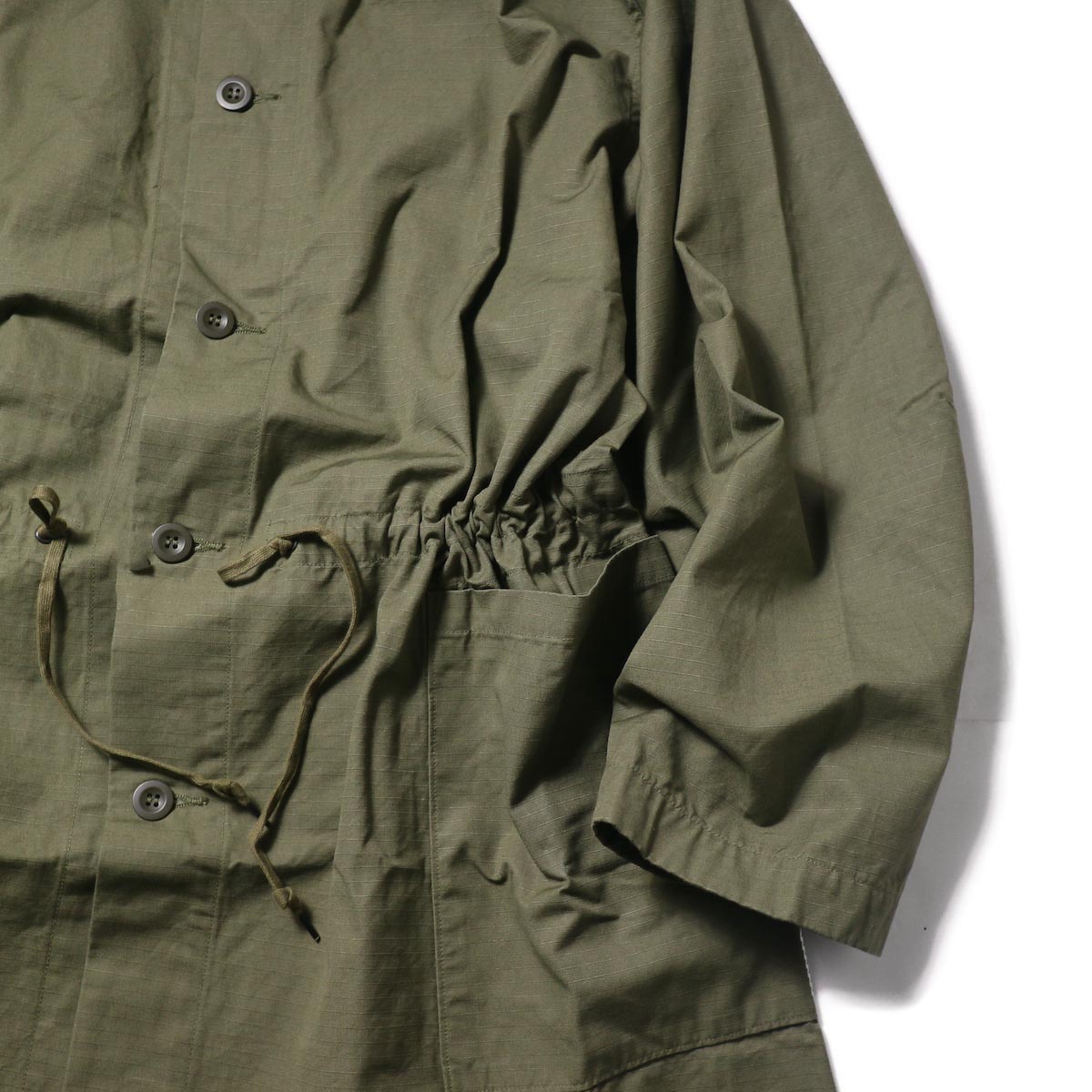 orSlow / No Collar Coat (Army)ウエスト、袖