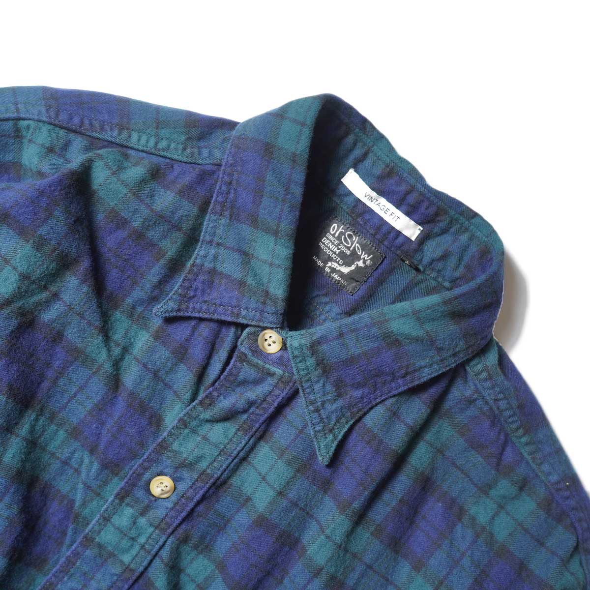 orSlow / VINTAGE FIT WORK SHIRT (Green Check)襟