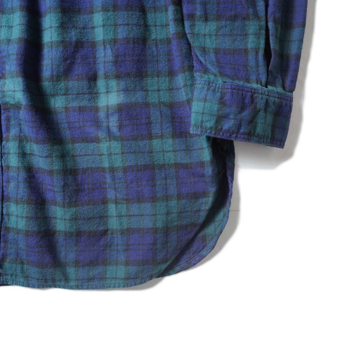 orSlow / VINTAGE FIT WORK SHIRT (Green Check)裾、袖