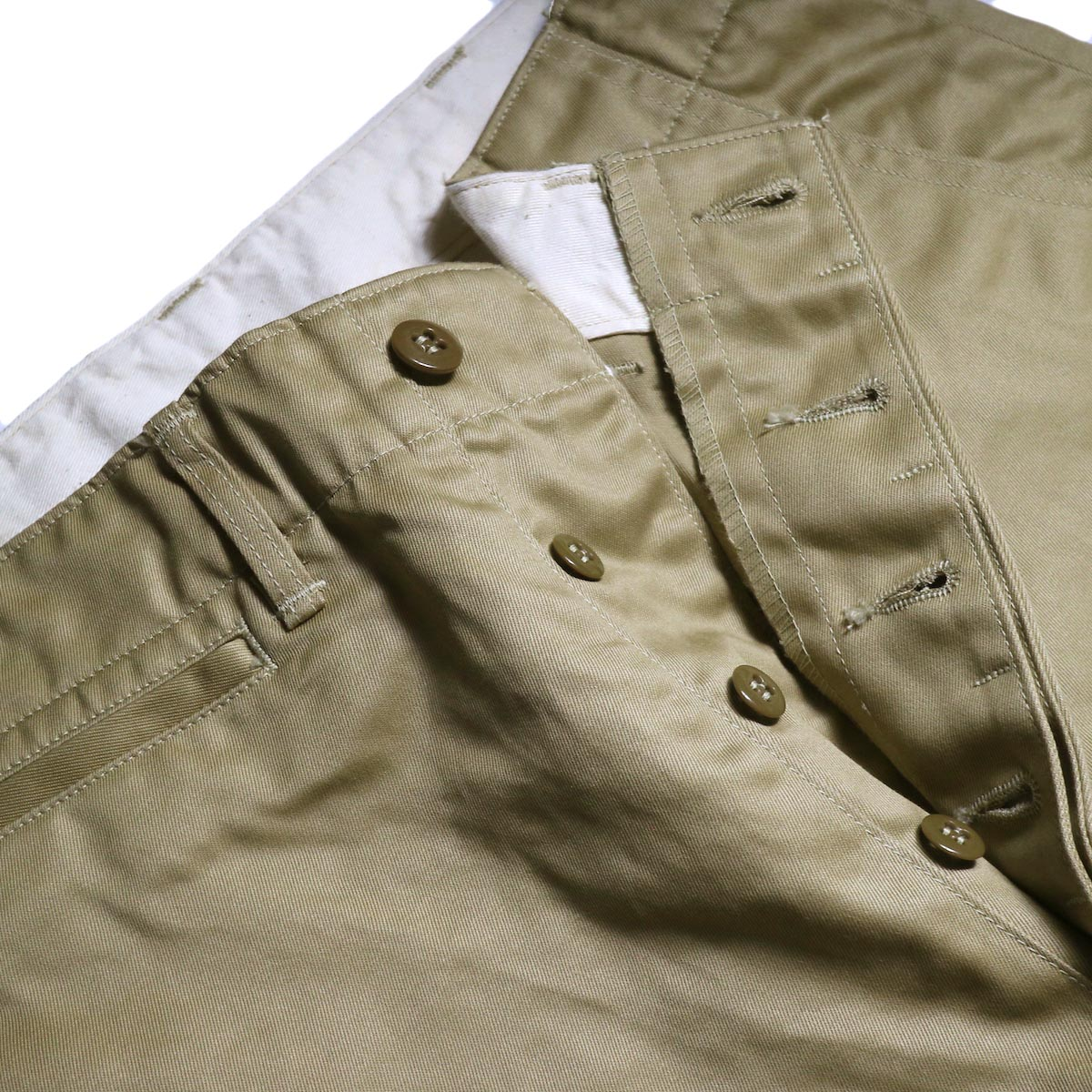 orSlow / VINTAGE FIT ARMY TROUSERS (Khaki)ボタンフライ