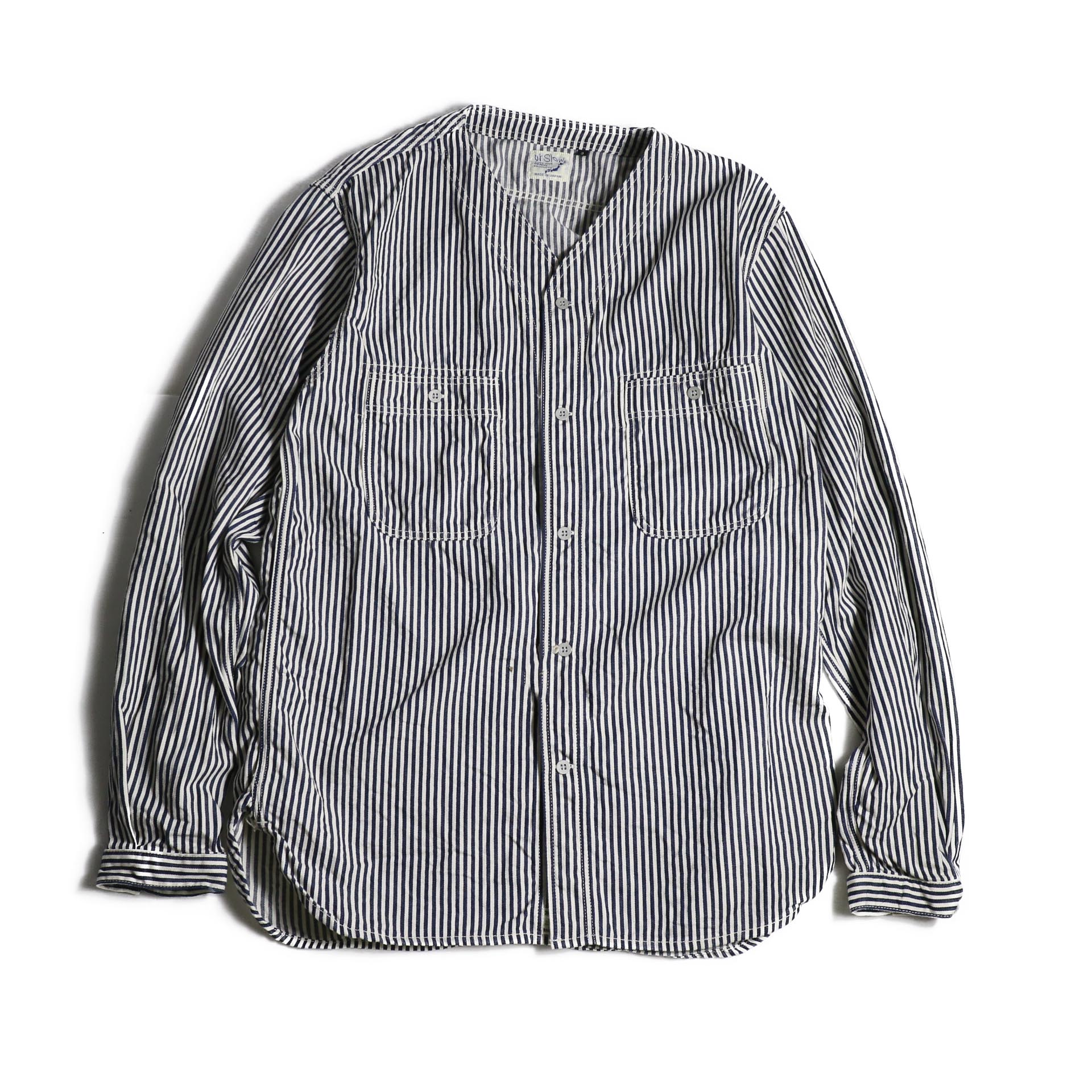 orSlow / NO COLLAR SHIRT (Hickory Stripe)