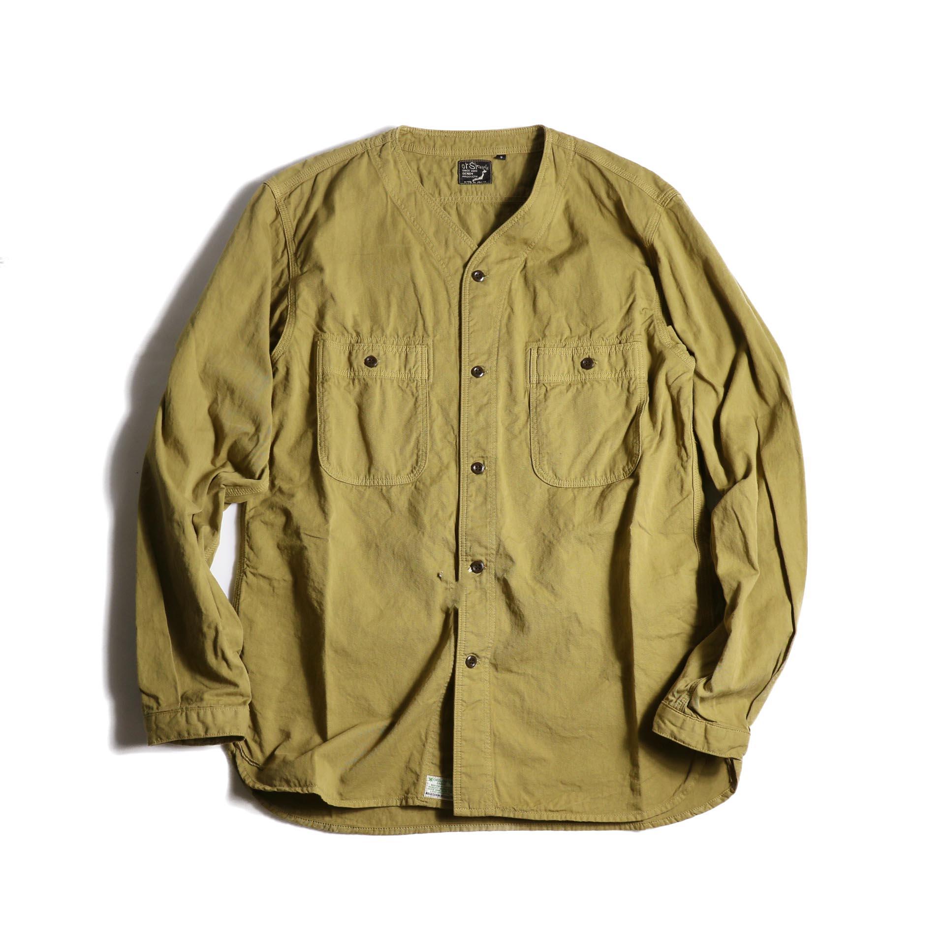orSlow / NO COLLAR SHIRT (Khaki) 正面