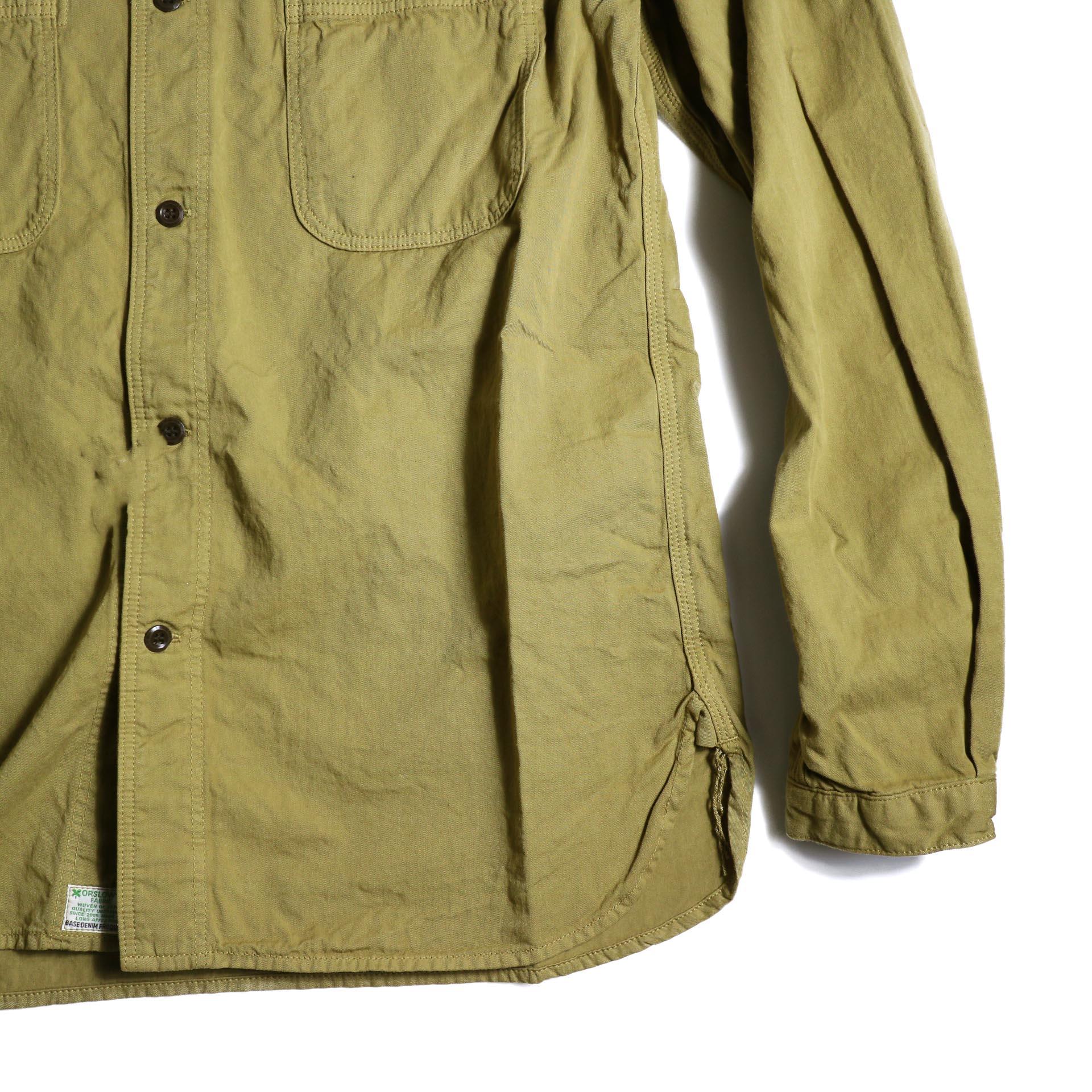 orSlow / NO COLLAR SHIRT (Khaki) 裾、袖