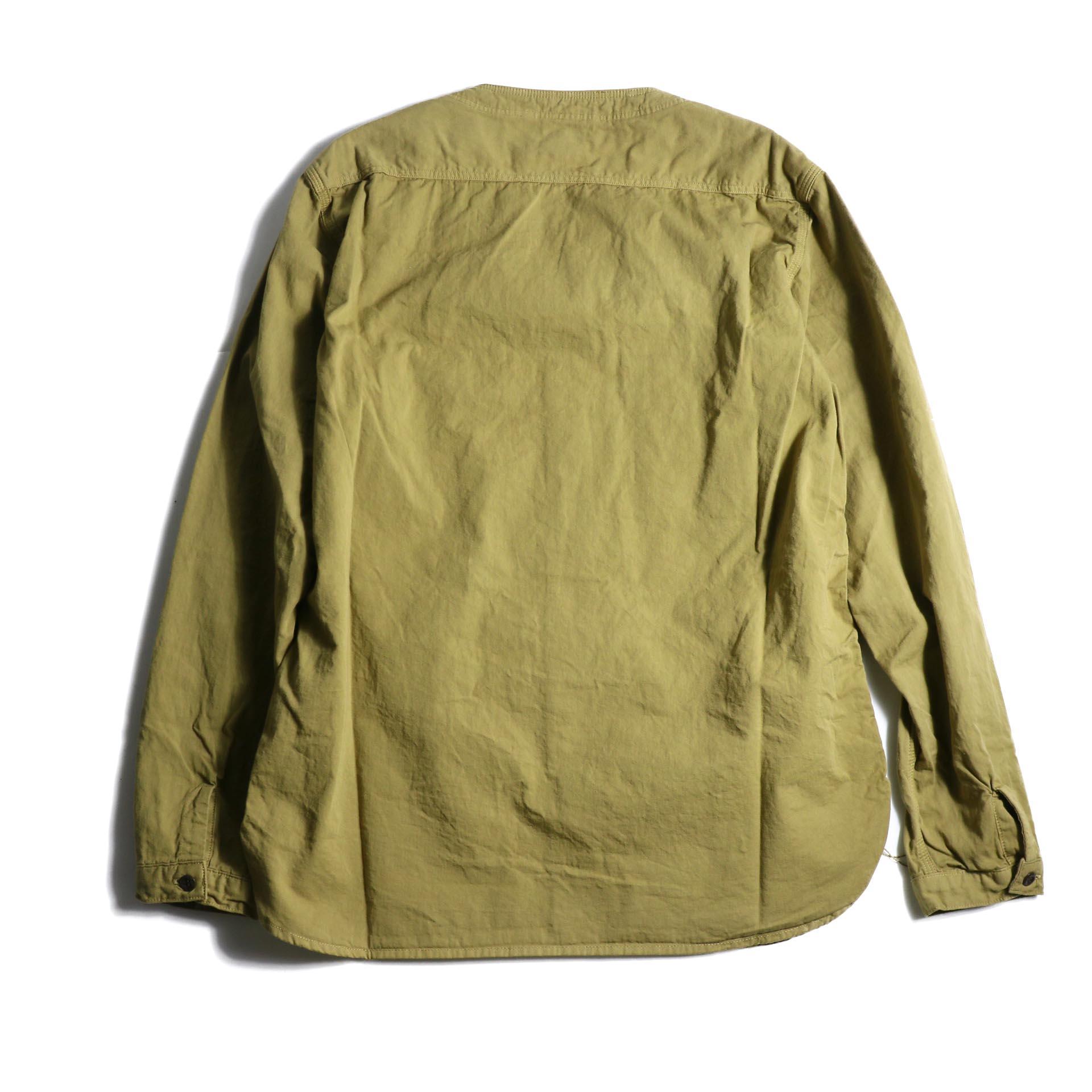 orSlow / NO COLLAR SHIRT (Khaki) 背面