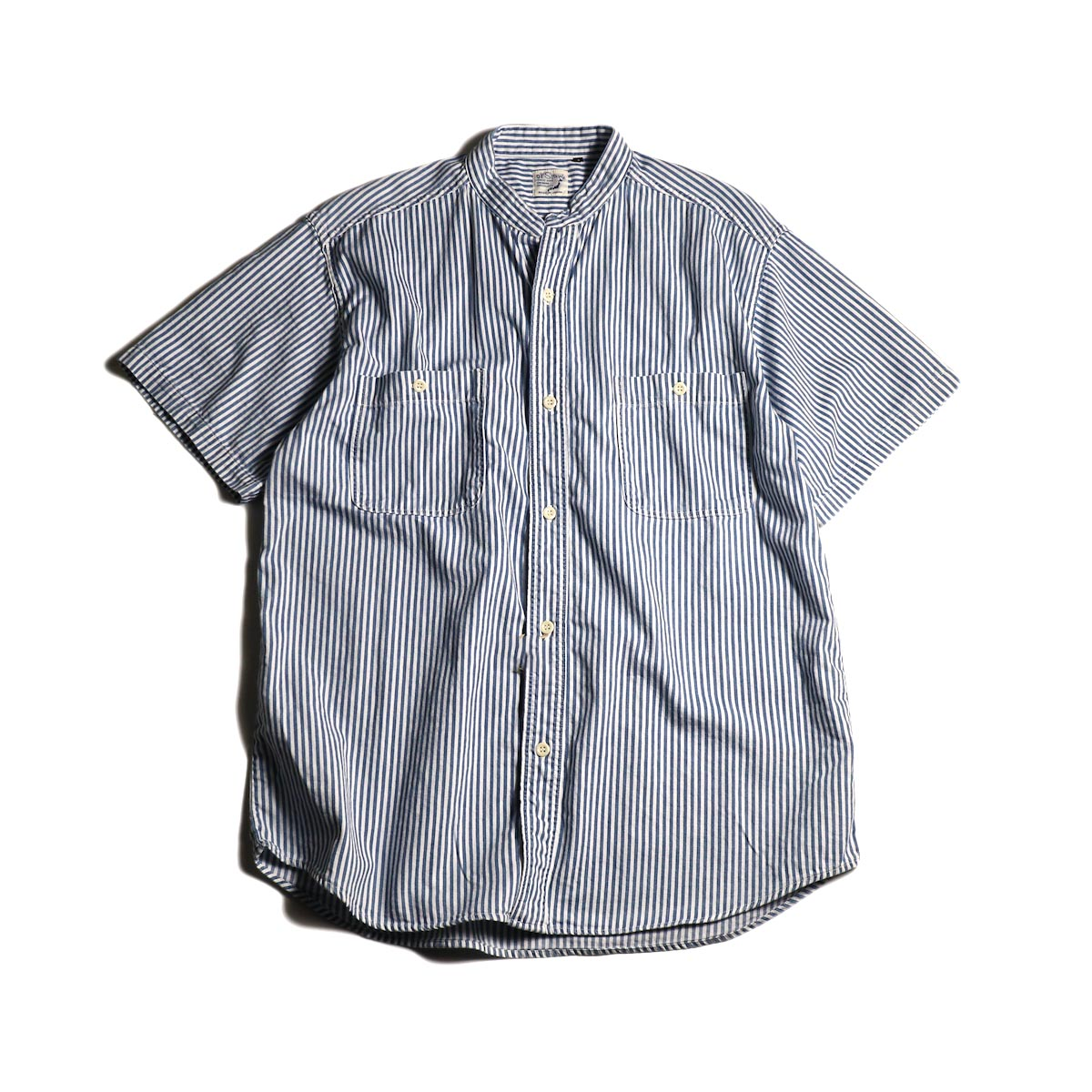 orSlow / STAND COLLAR S/S SHIRT - HICKORY