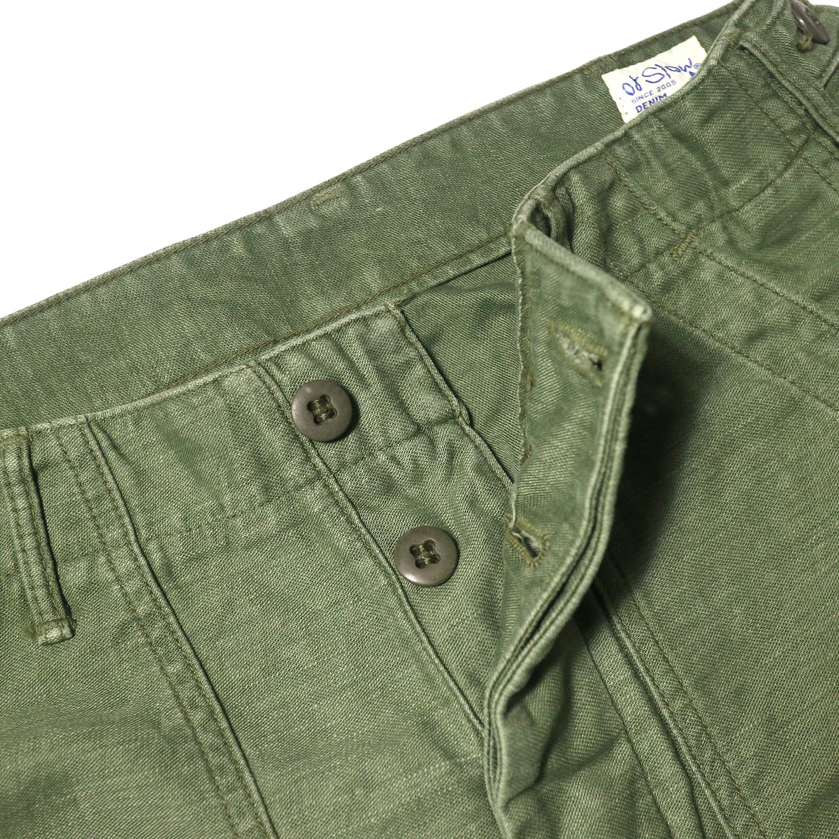orSlow / US ARMY FATIGUE PANTS (Used Green)ボタンフライ