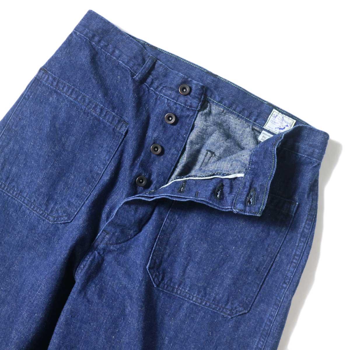 orSlow / US NAVY DENIM FLARE PANTS ウエストボタン