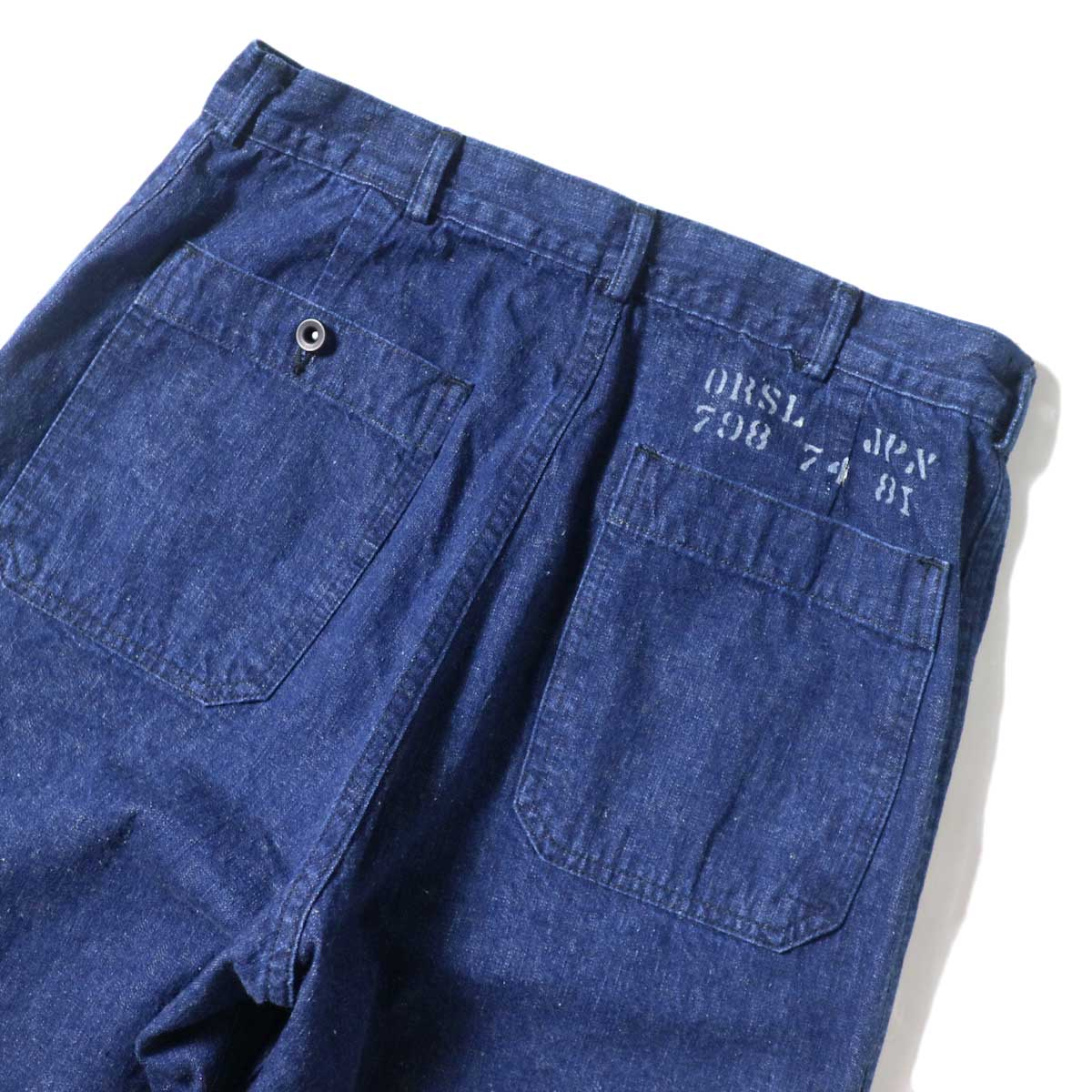 orSlow / US NAVY DENIM FLARE PANTS 背面アップ