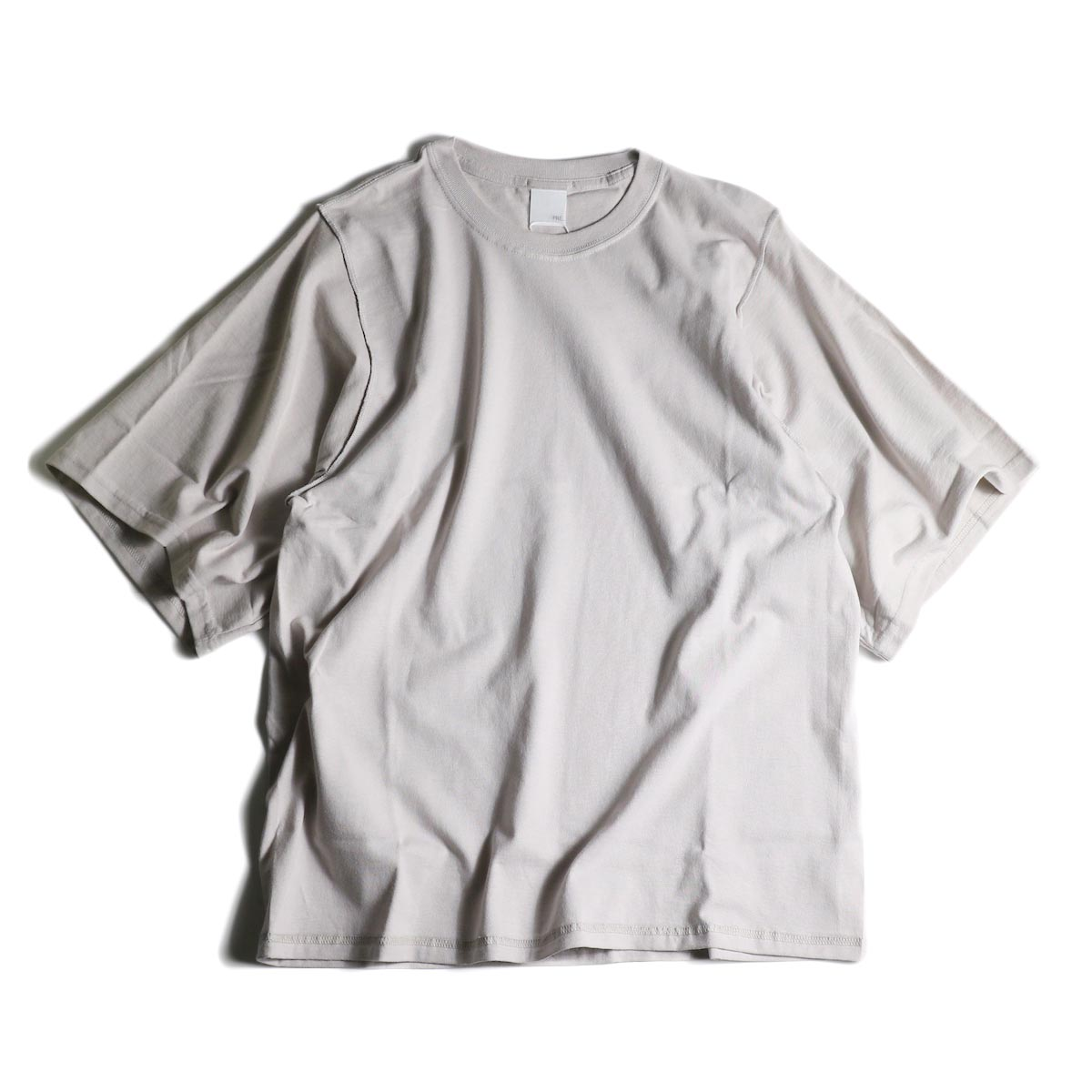 PRE_ / INSIDE OUT WIDE SLEEVE T (Ice Gray)正面