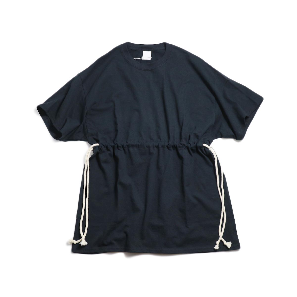 PRE_ Marble Solid Tee W / Drawcord for W -Black