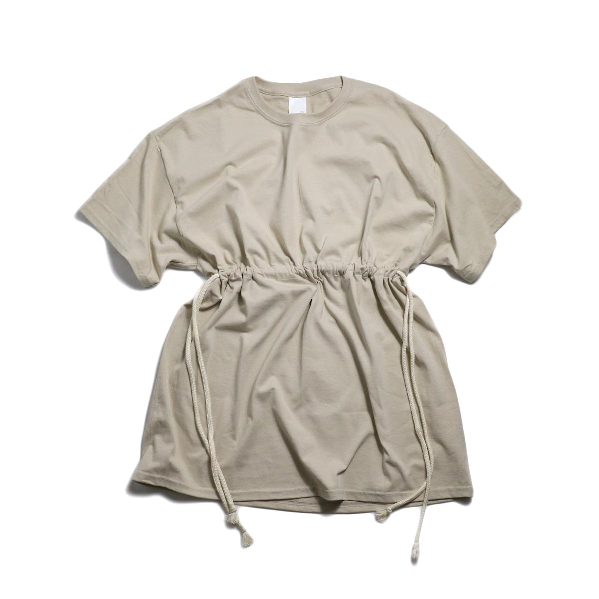 PRE_ Marble Solid Tee W / Drawcord for W -Sand
