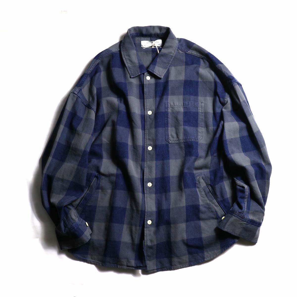 REMI RELIEF / インディゴブロックチェックシャツ -gray