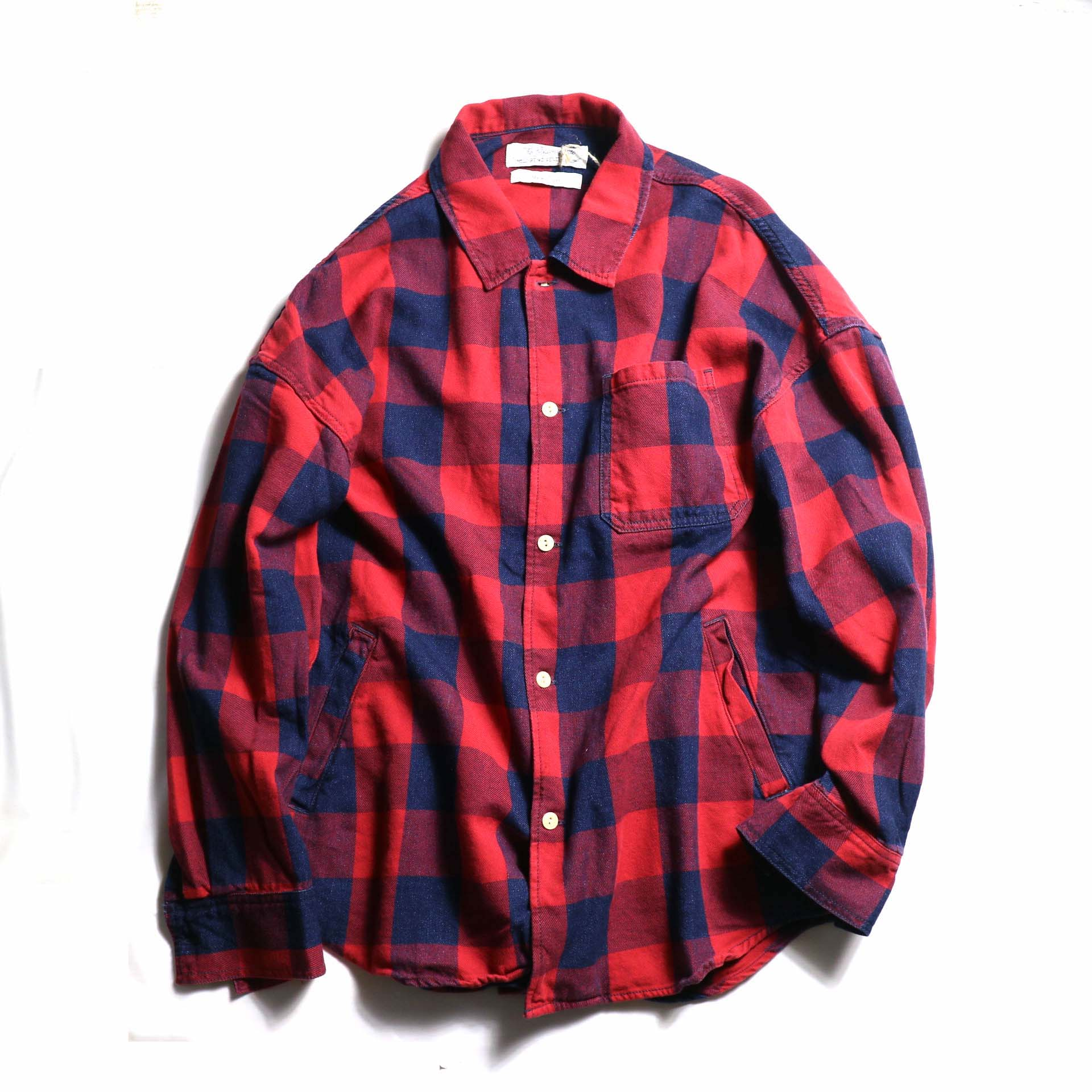 REMI RELIEF / インディゴブロックチェックシャツ -red