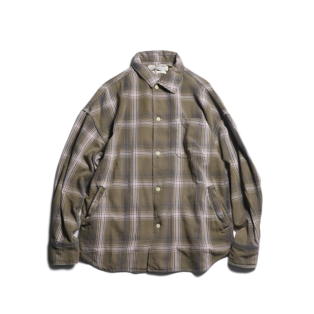 REMI RELIEF / チェックオープンシャツ (Brown)