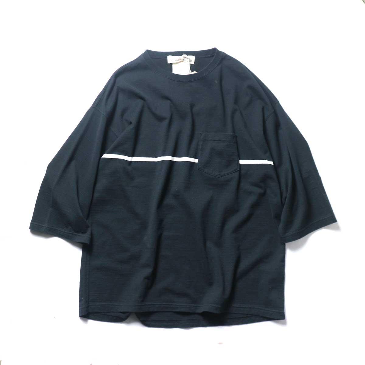 REMI RELIEF / 24Gパネル胸ボーダー七分袖 (Black)