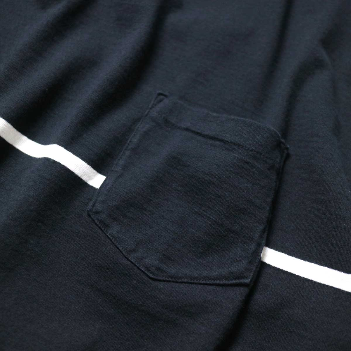 REMI RELIEF / 24Gパネル胸ボーダー七分袖 (Black)ポケット