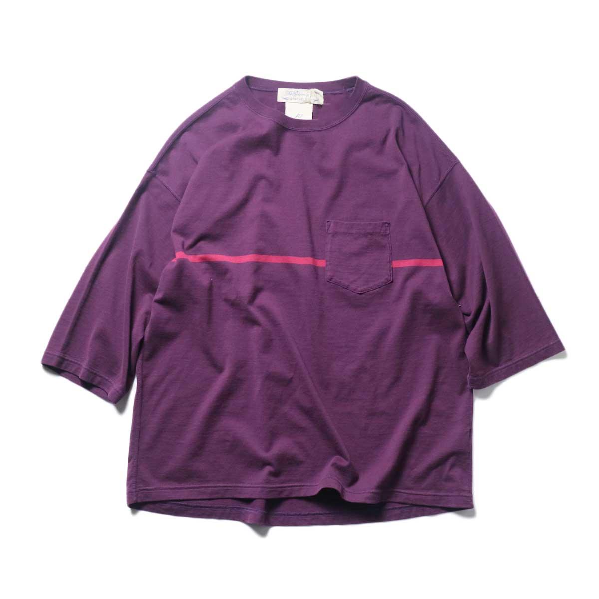 REMI RELIEF / 24Gパネル胸ボーダー七分袖 (Purple)