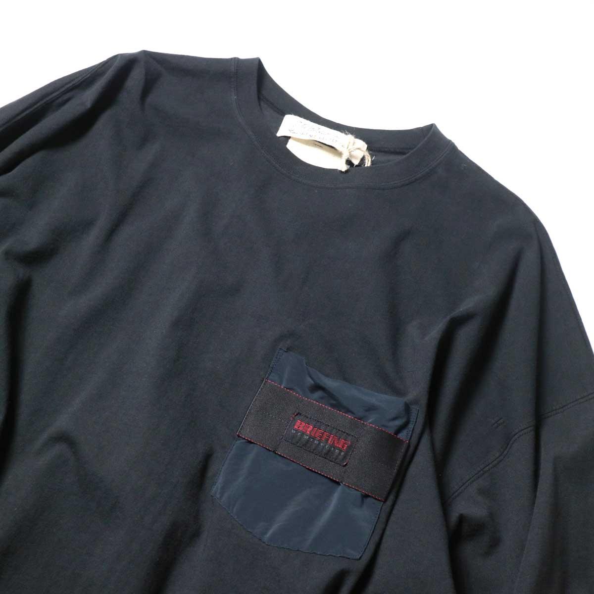 REMI RELIEF / ブリーフィング 30/天竺ベンチレーションロンT (Black)クルーネック