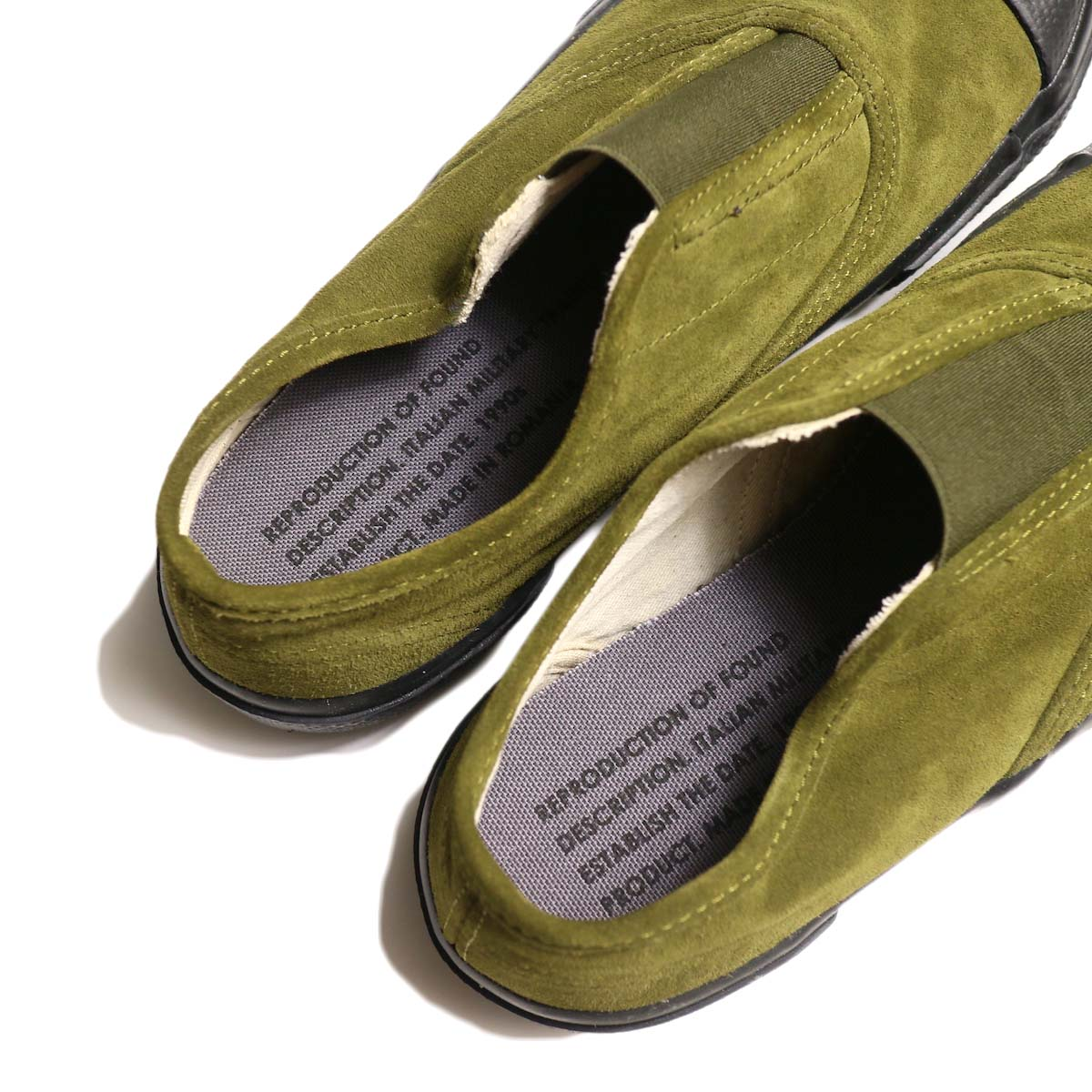 REPRODUCTION OF FOUND / ITALIAN MILITARY TRAINER (Olive Suede / Black Sole)インソール