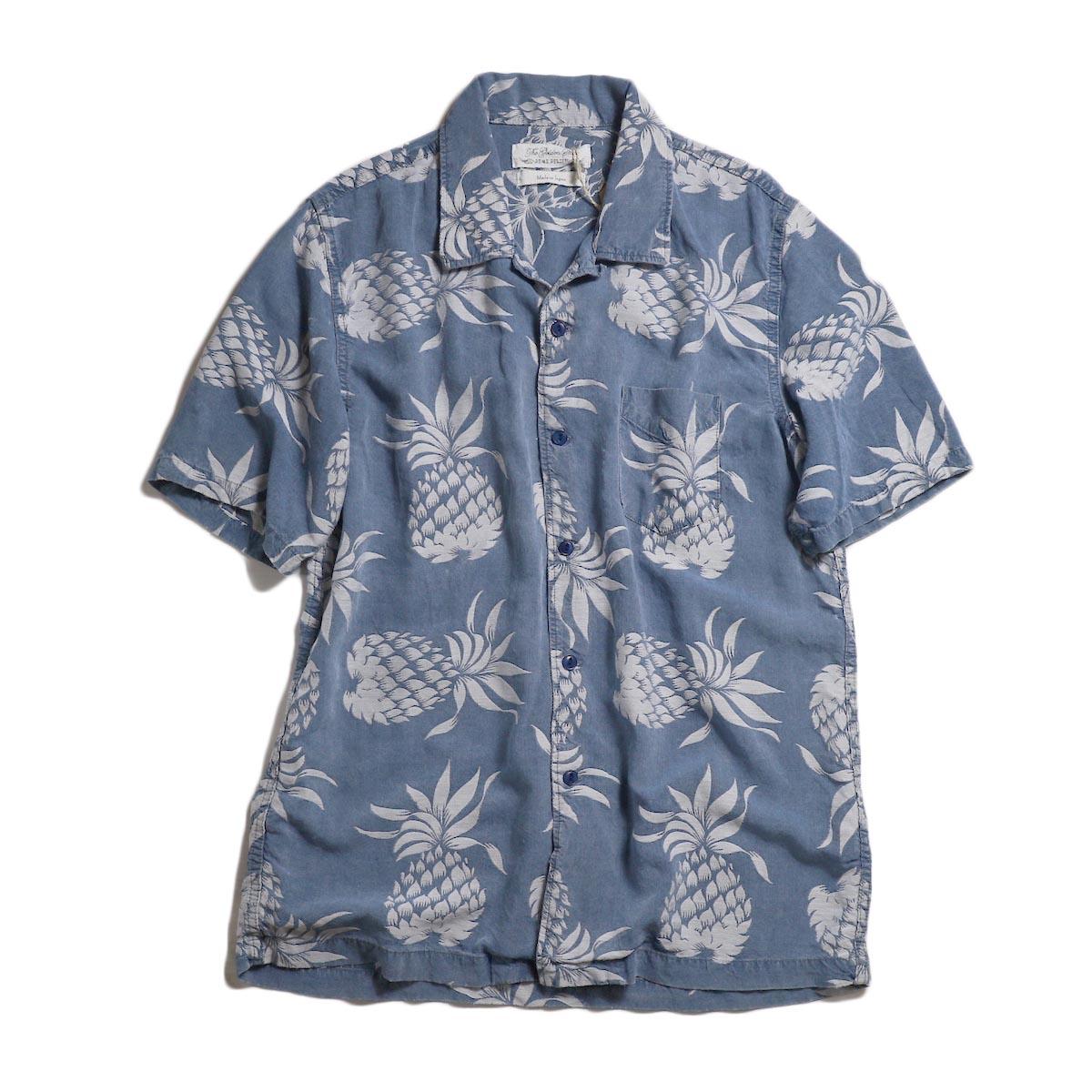 REMI RELIEF /  パイナップル柄インディゴ半袖アロハシャツ -Indigo Blue