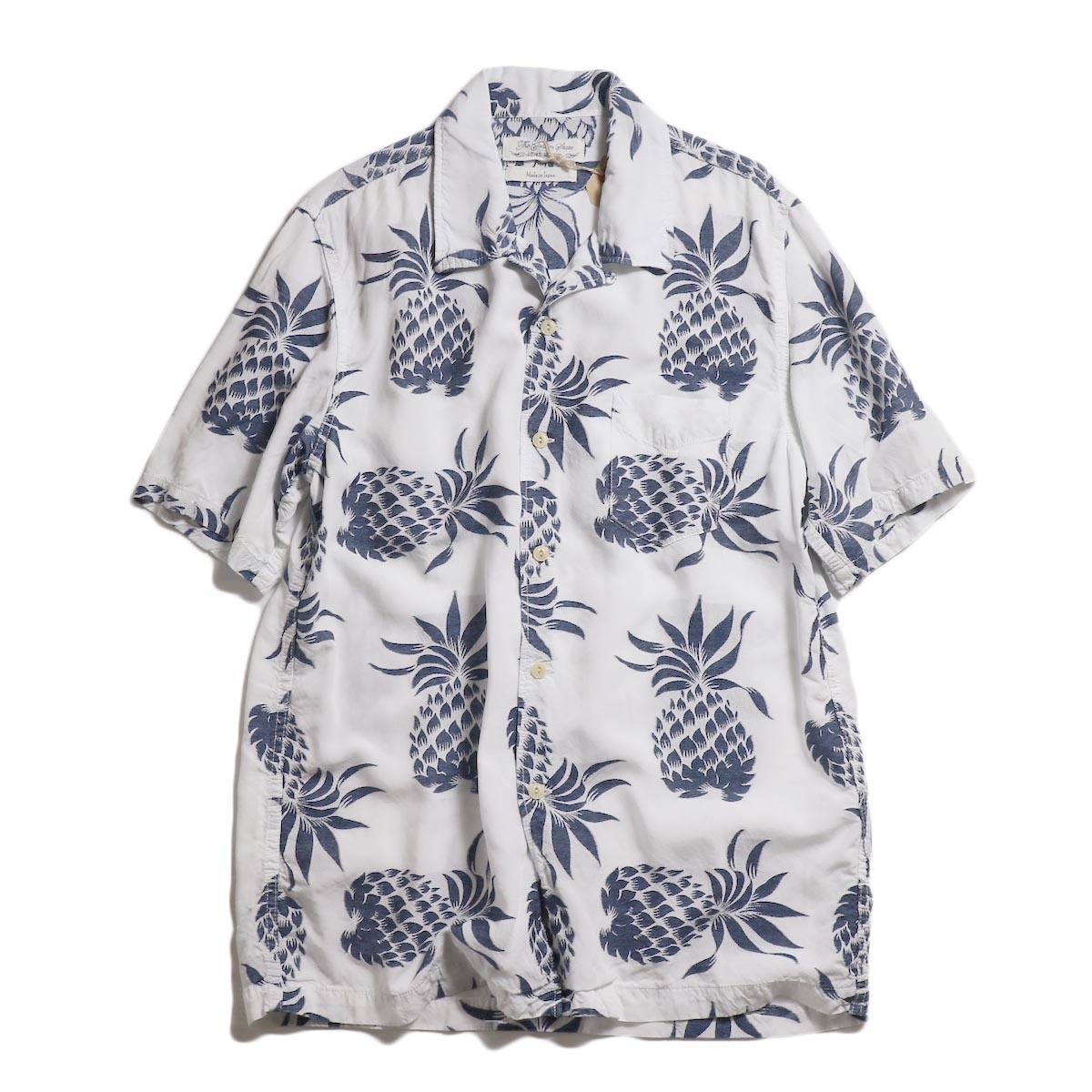 REMI RELIEF /  パイナップル柄インディゴ半袖アロハシャツ -Off White