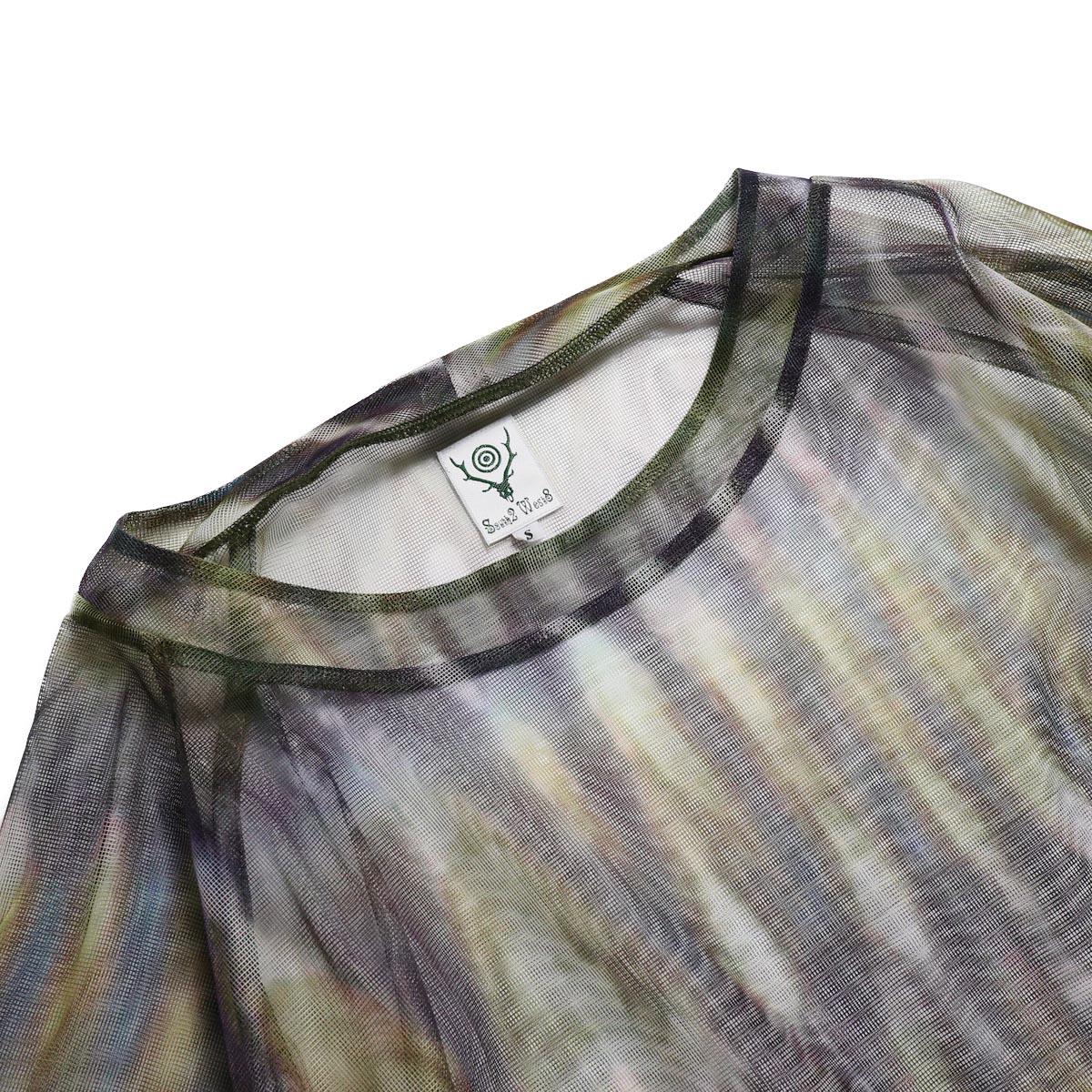 SOUTH2 WEST8 / Bush Shirt -Mesh Print (Tie Dye) 首元