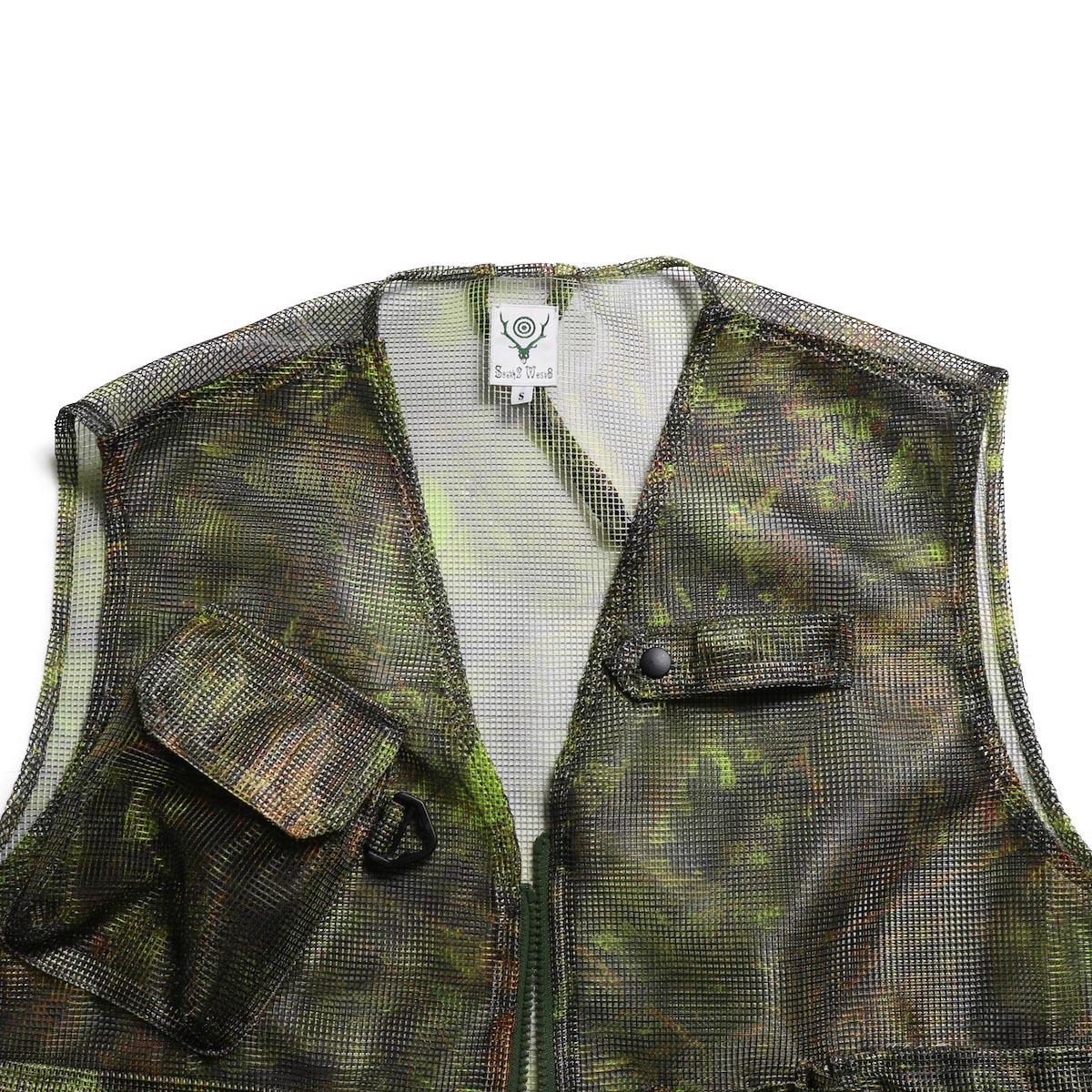 SOUTH2 WEST8 / Mesh Bush Vest -Poly Mesh (S2W8 Camo) 首元