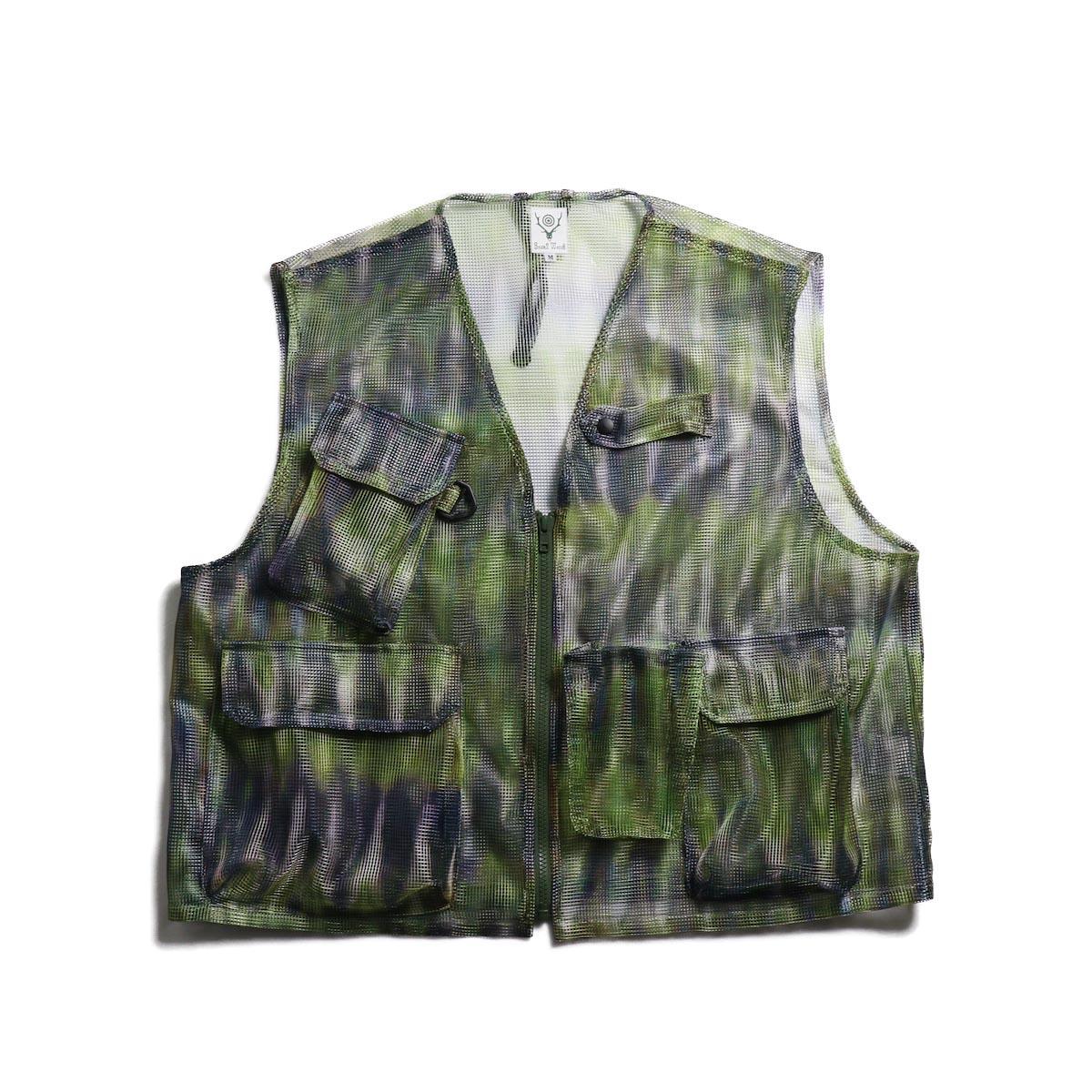 SOUTH2 WEST8 / Mesh Bush Vest -Poly Mesh (Tie Dye) 正面