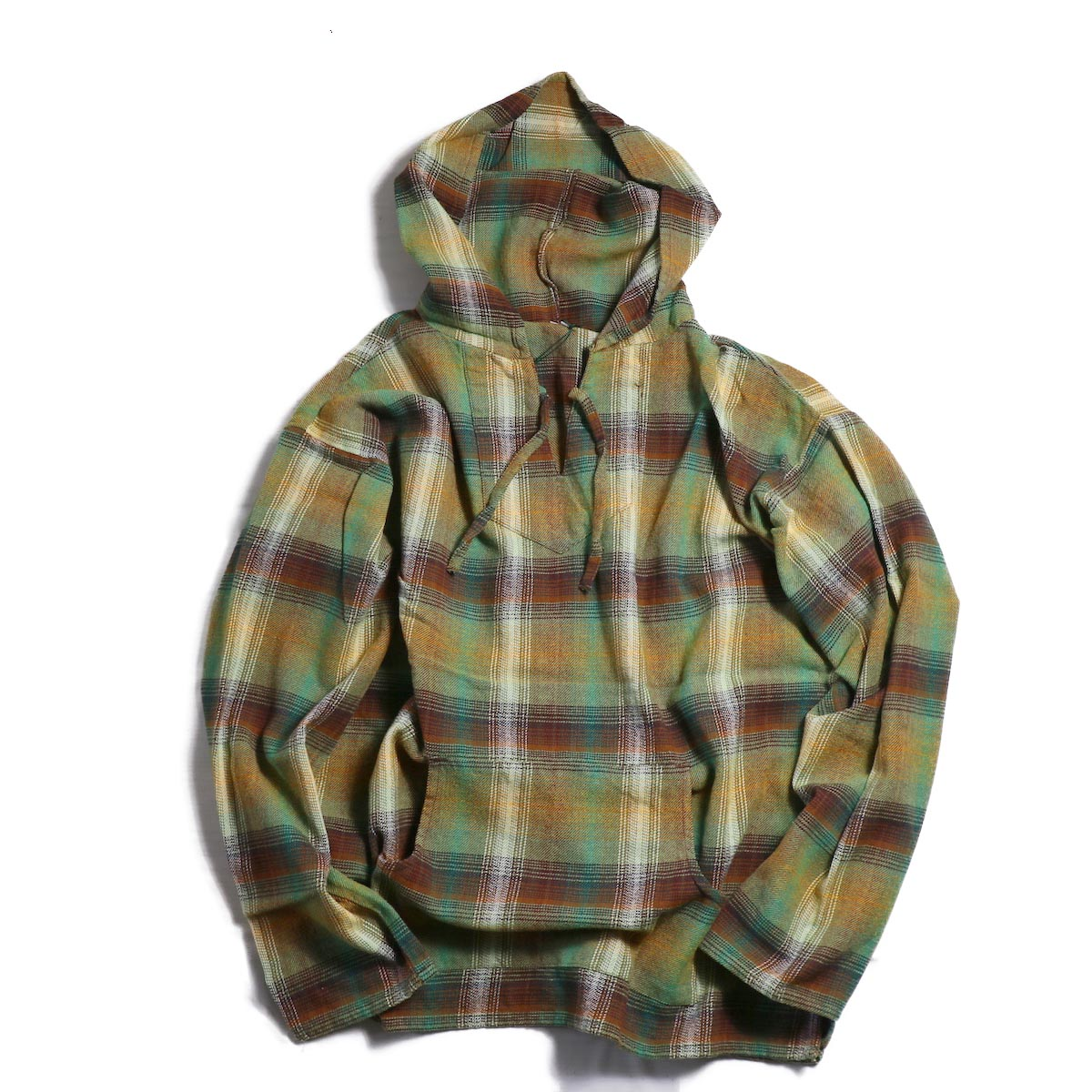 SOUTH2 WEST8 / Mexican Parka Cotton Twill/Plaid -OLIVE