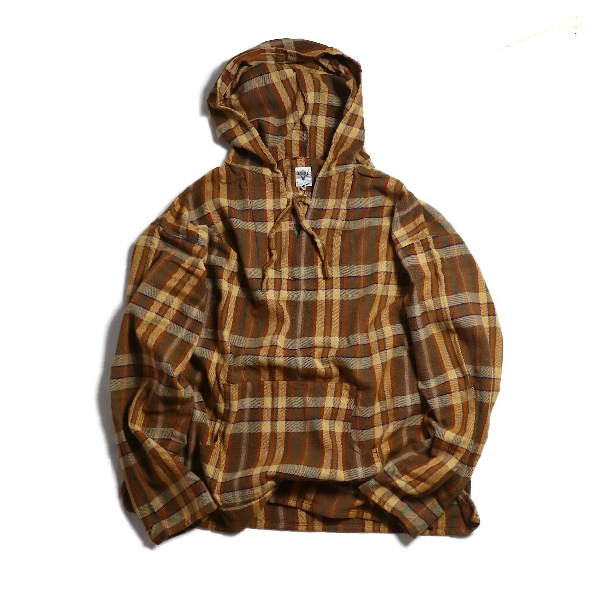 SOUTH2 WEST8 / Mexican Parka Cotton Twill/Plaid -BROWN