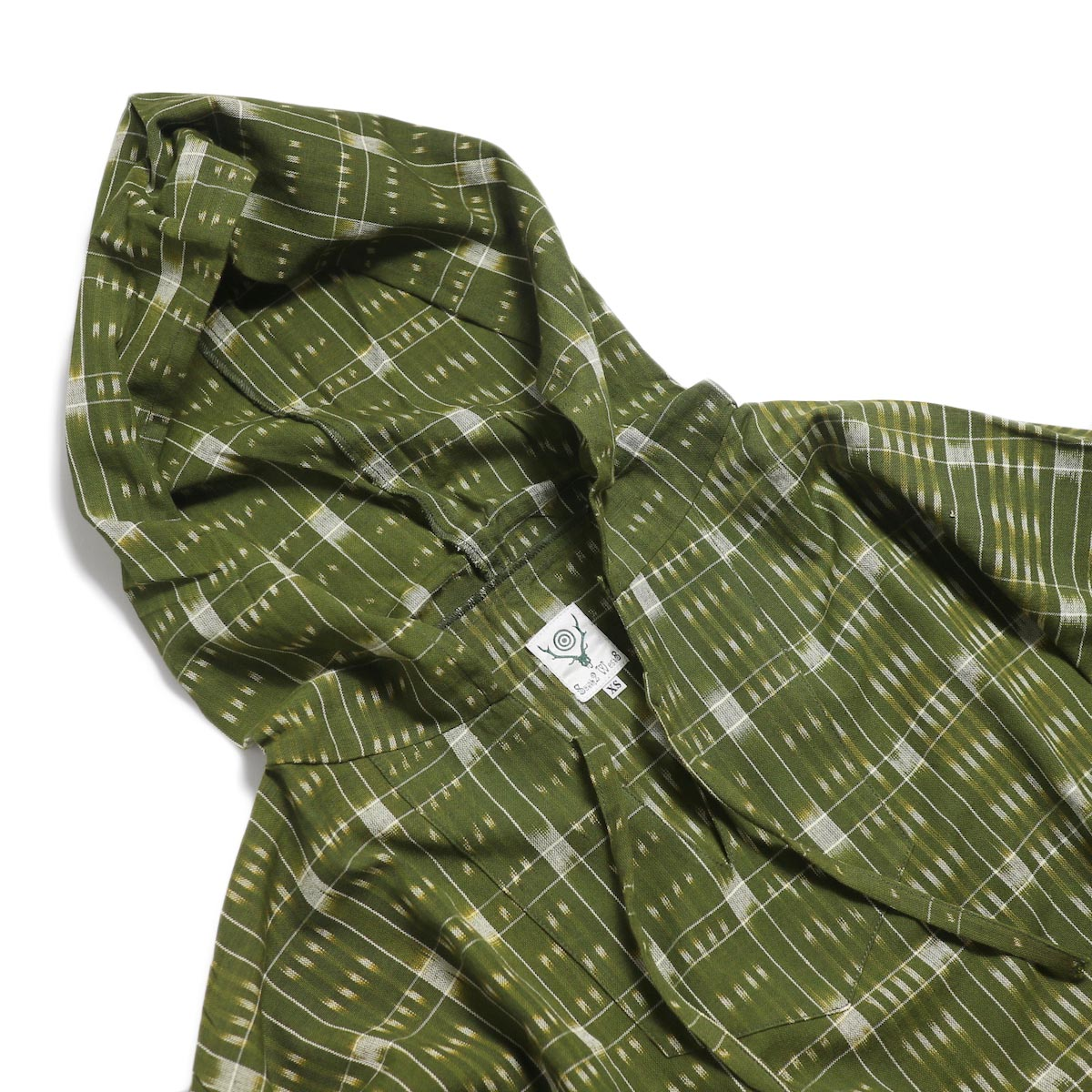 SOUTH2 WEST8 / Mexican Parka -Cotton Cloth / Splashed Pattern (Olive) 首周り