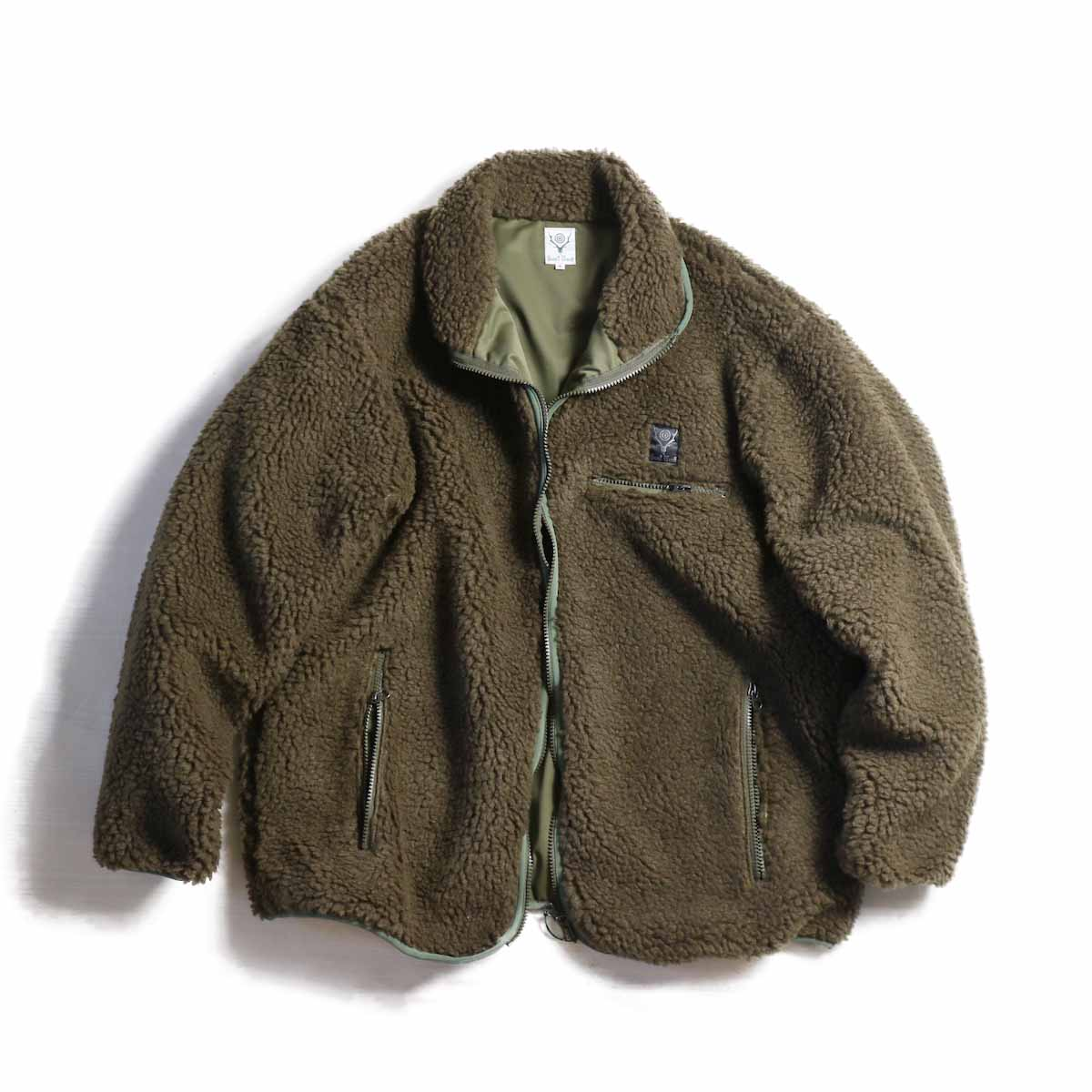 SOUTH2 WEST8 / Piping Jacket -Synthetic Pile(Olive)