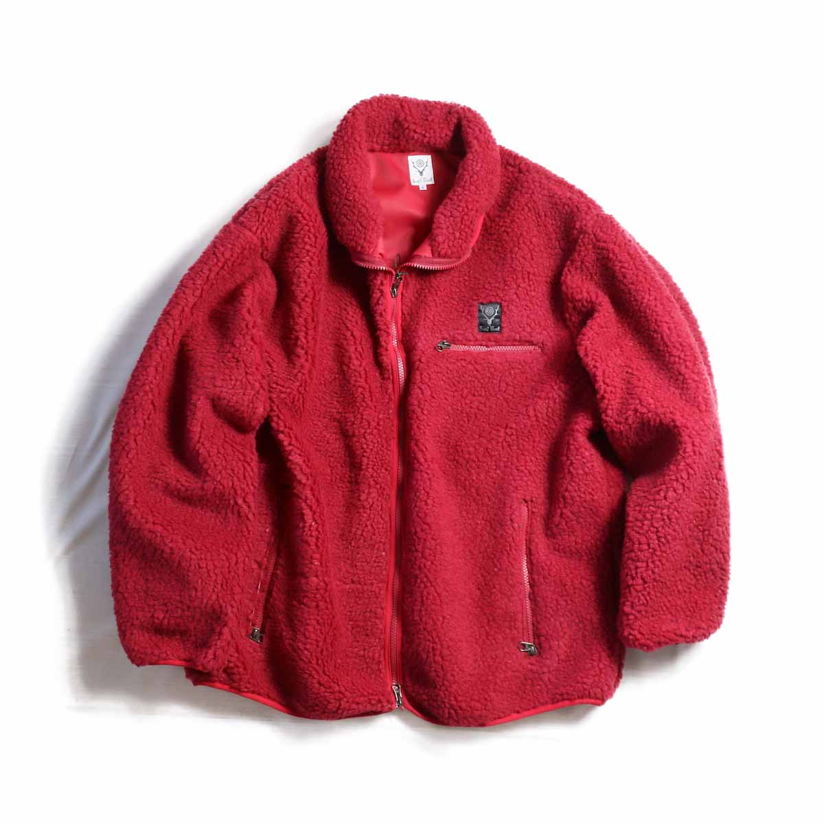 SOUTH2 WEST8 / Piping Jacket -Synthetic Pile(Red)